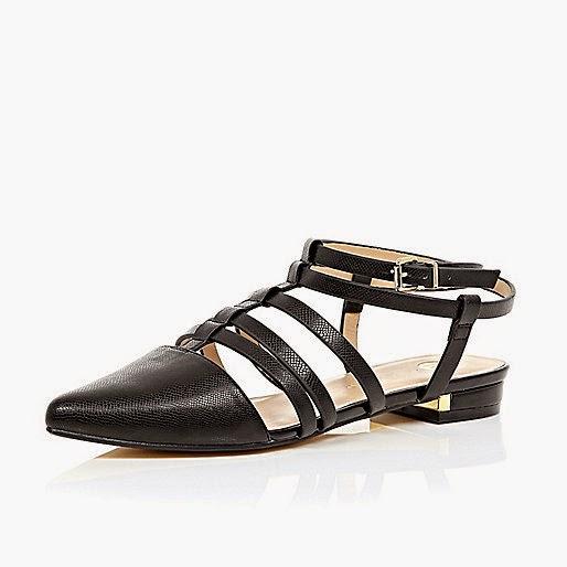 river island black strap shoe, black strappy flats,