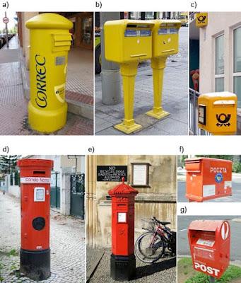 Los buzones, los vehículos y otros elementos relacionados con el sistema de correos varían según el país