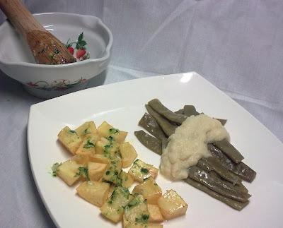 Judias Verdes con Crema de Cebolla