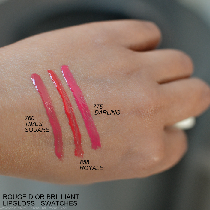 Dior Rouge Brilliant Lipgloss Swatches 359Miss 766Rose Harpers 263Swan 999Rouge 310Paname 808Victoire 688Hollywood 760Times Square 858 Royale 775 Darling