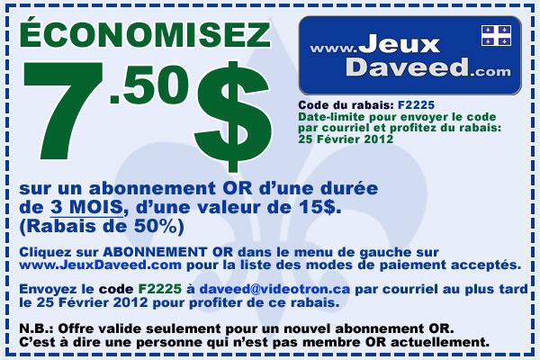 Coupons Rabais Quu00e9bec Coupon Rabais 750$ Jeux Daveed Qc