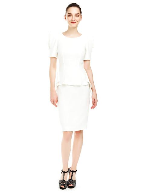 beyaz elbise, peplum elbise, ofis elbisesi, kısa elbise