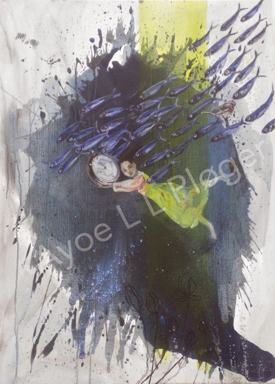 art, kunst, maleri, moderne kunst, abstrakt, fisk, blå,