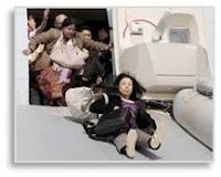 Evacuating an airplane, emergency slide