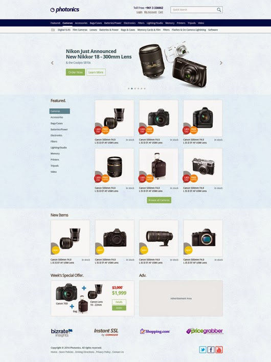E-commerce Camera Store Website PSD Template