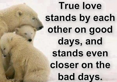 True love stands by each other on good days, and stands even closer on the bad days.