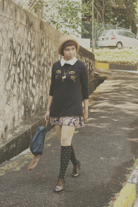 mori girl, mori girl fashion, kitty sweater, vintage floral skirt, knee high socks, oxford shoes, ootd, outfit of the day, fashion, lookbook