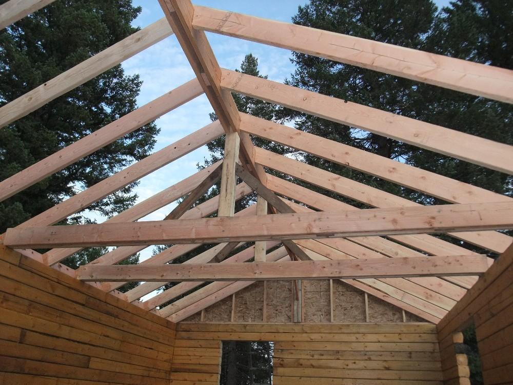 The adventures of us log cabin wood shop roof frame for Log cabin roof construction