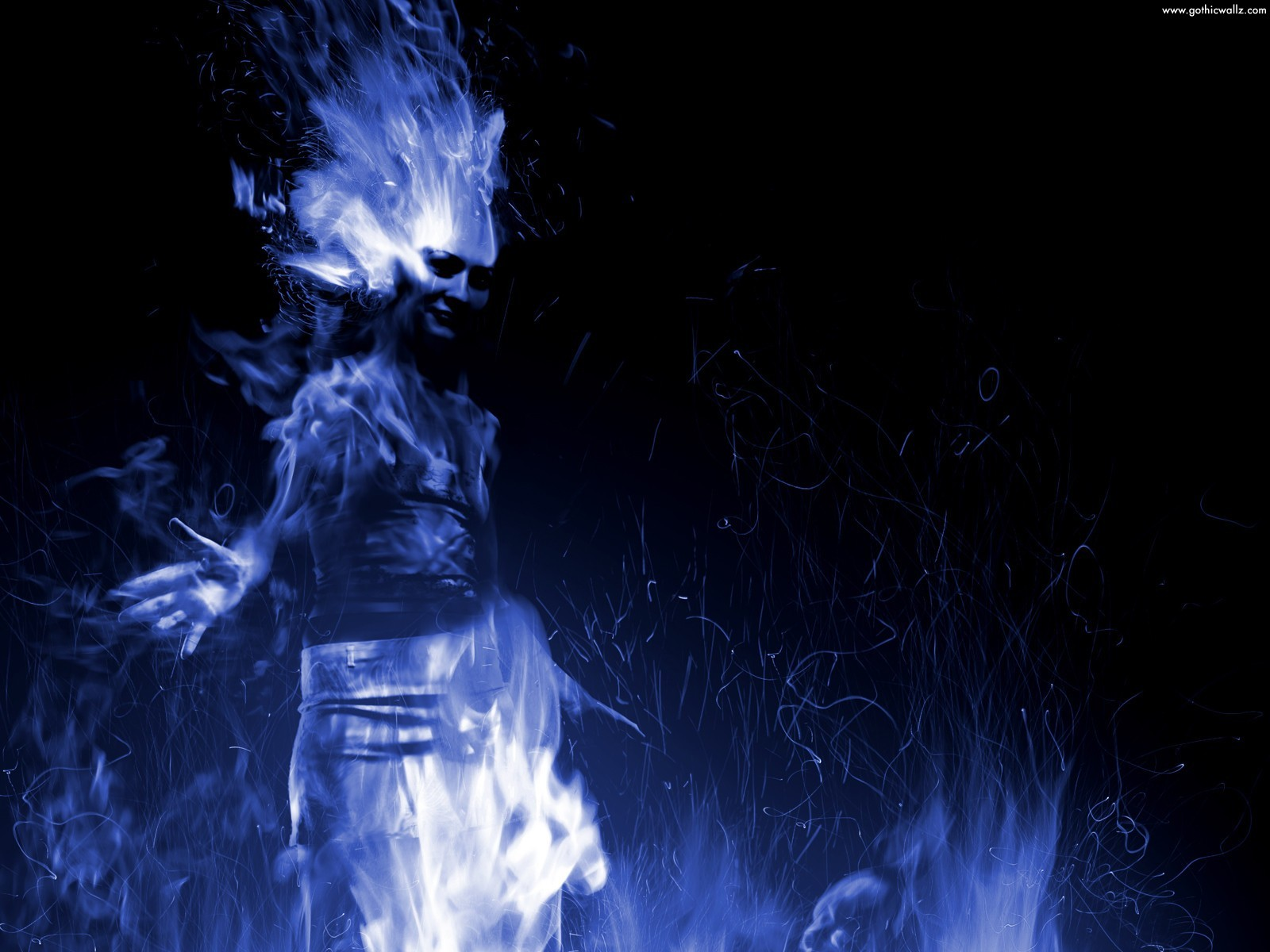 Blue Flame Girl | Gothic Wallpaper Download
