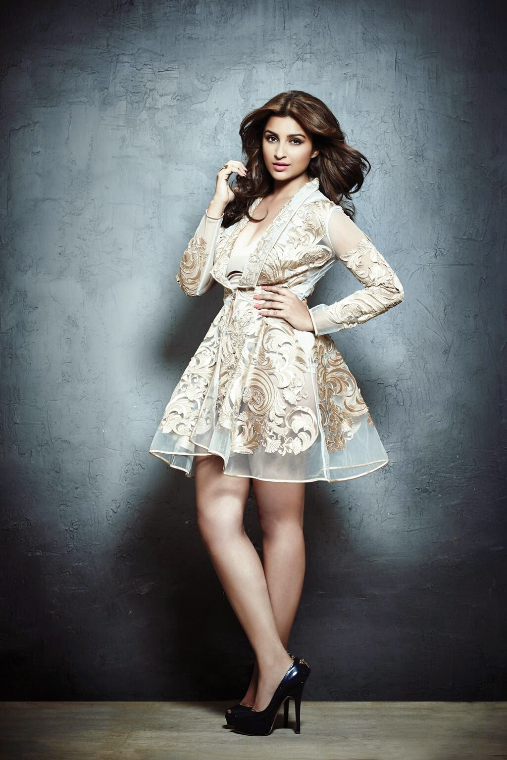 Parineeti-Chopra-in-white-see-through-mini-dress-showing-long-legs