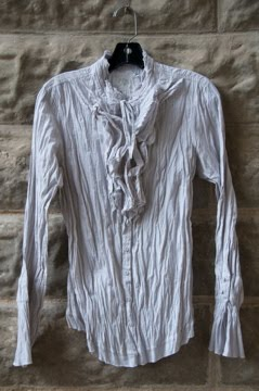 Pinstripe cotton ruffle front blouse.