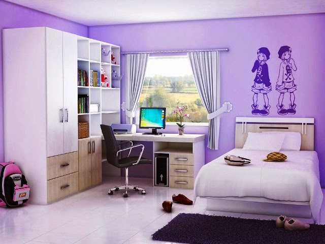 Wall painting ideas for teenage girls for Wallpaper colors for bedroom