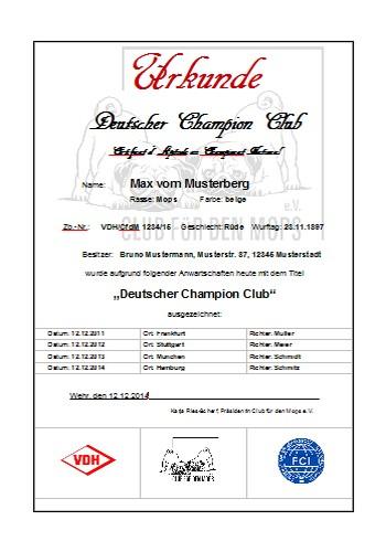 Urkunde Deutscher Jugend Champion Club - Club für den Mops