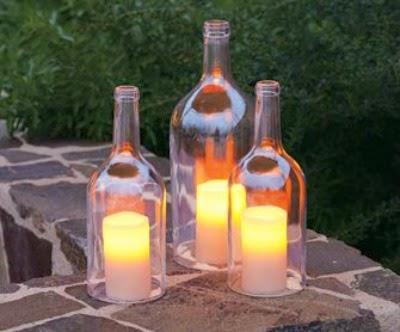 velas, decoração, garrafas