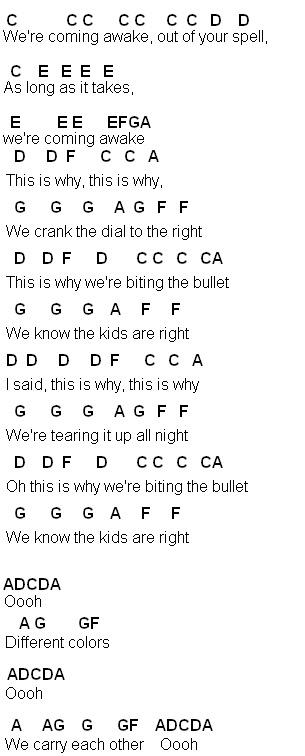 Flute Sheet Music Different Colors