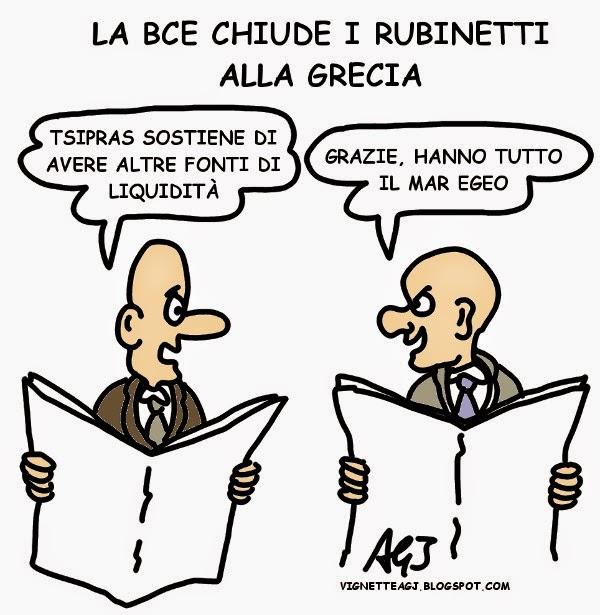 Tsipras, BCE, liquidità, draghi, vignetta, satira