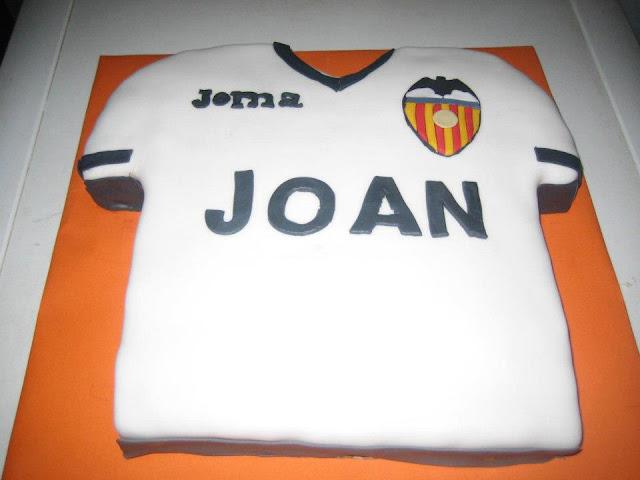 Tarta Camiseta VCF Valencia Club de Fulbol escudo fondant Sugar Dreams Gandia