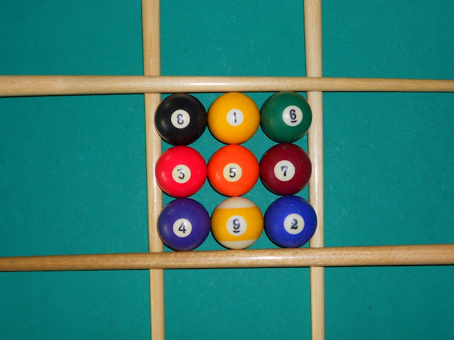Installation of magic square 3x3 using pool balls photo 2