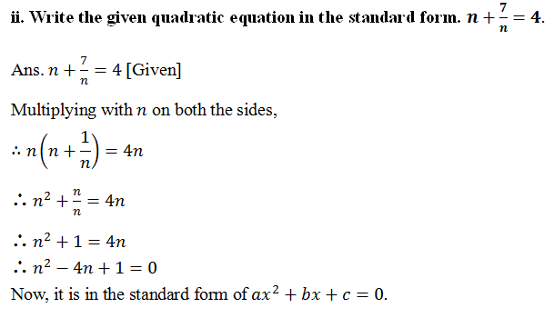 Omtex Classes Write The Given Quadratic Equation In The Standard