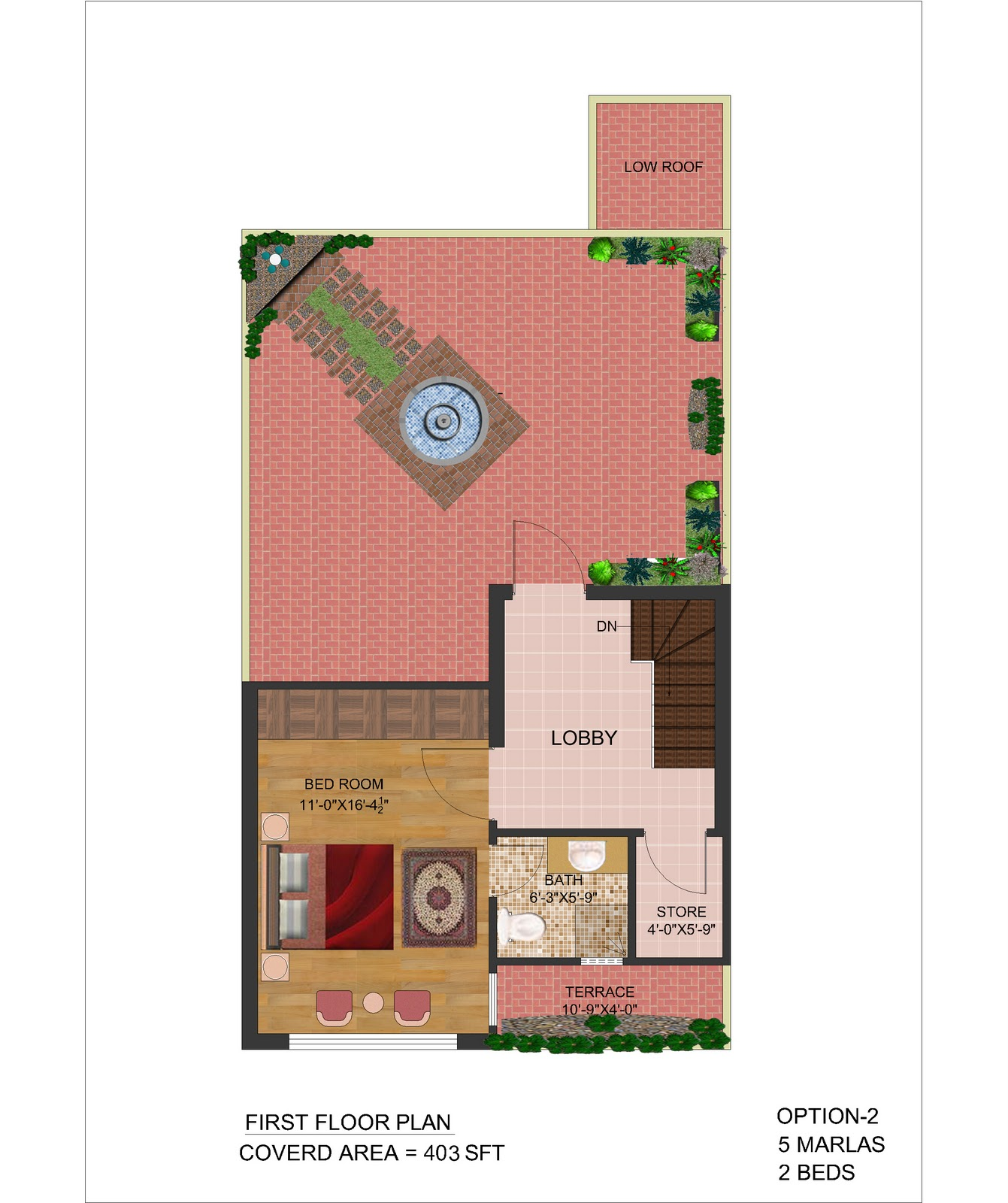 3d Front 5 Marla Front Elevation Plan 2