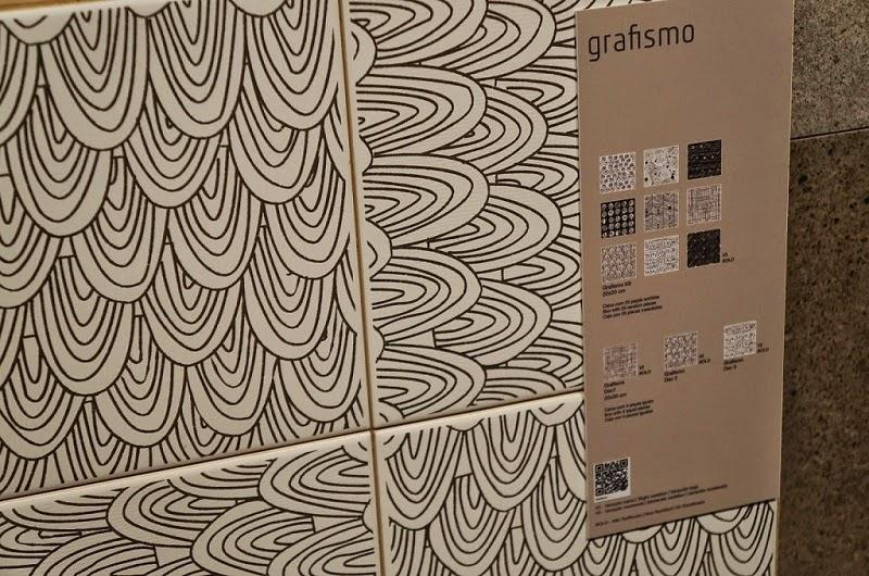 grafismo em preto e branco da Portinari - Expo Revestir 2014