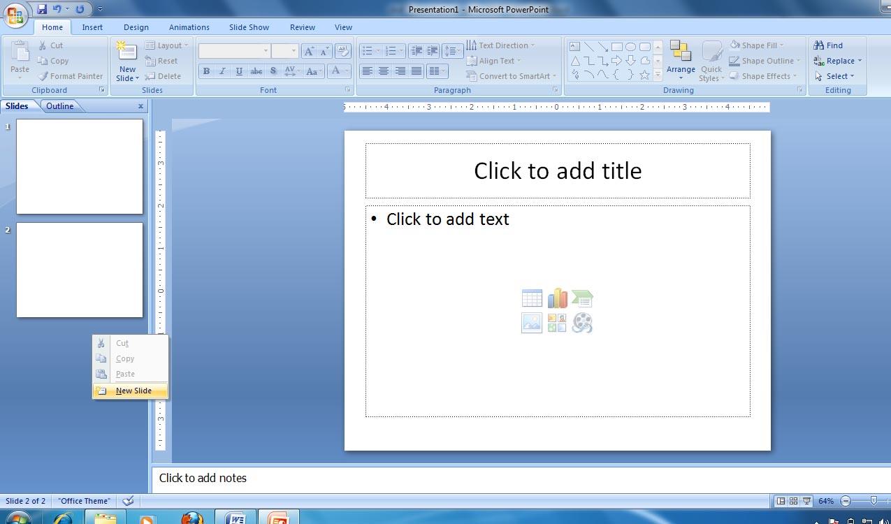 membuat file baru di power point 2007