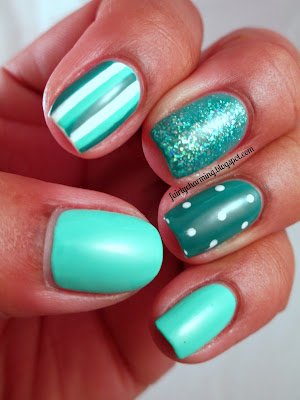 Julep Harper, Color Club Edie, Love & Beauty Teal, teal, turquoise, polka dots, stripes, opalescent, glitter, mermaid, nails, nail art, nail design, mani