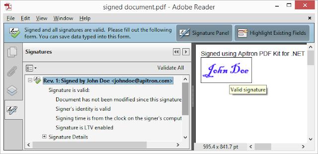 Pic. 3 Signature added using flow layout API