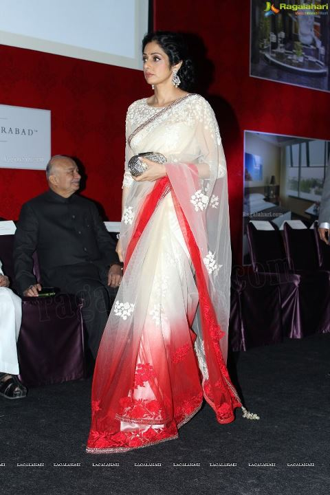 Sridevi in  manish malhotra saree - Sridevi in manish malhotra saree at Park Hyatt Official Launch