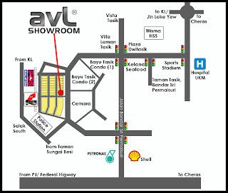 AVL SHOWROOM MAP
