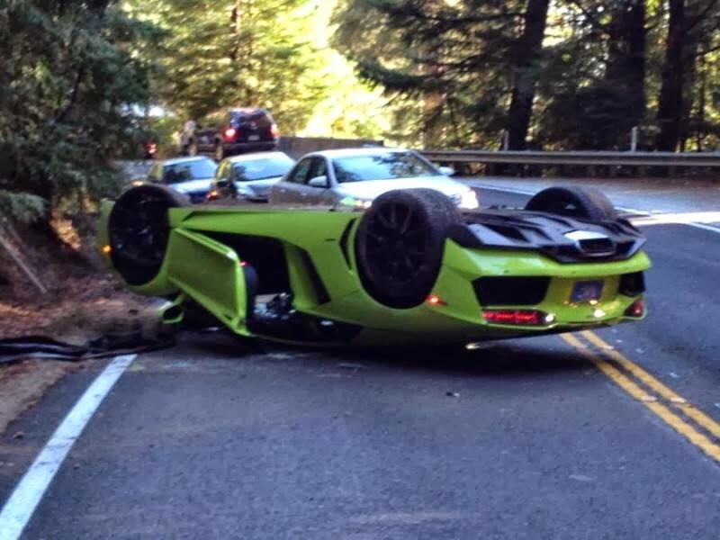 Verde Ithaca Lamborghini Aventador Flipped Upside Down