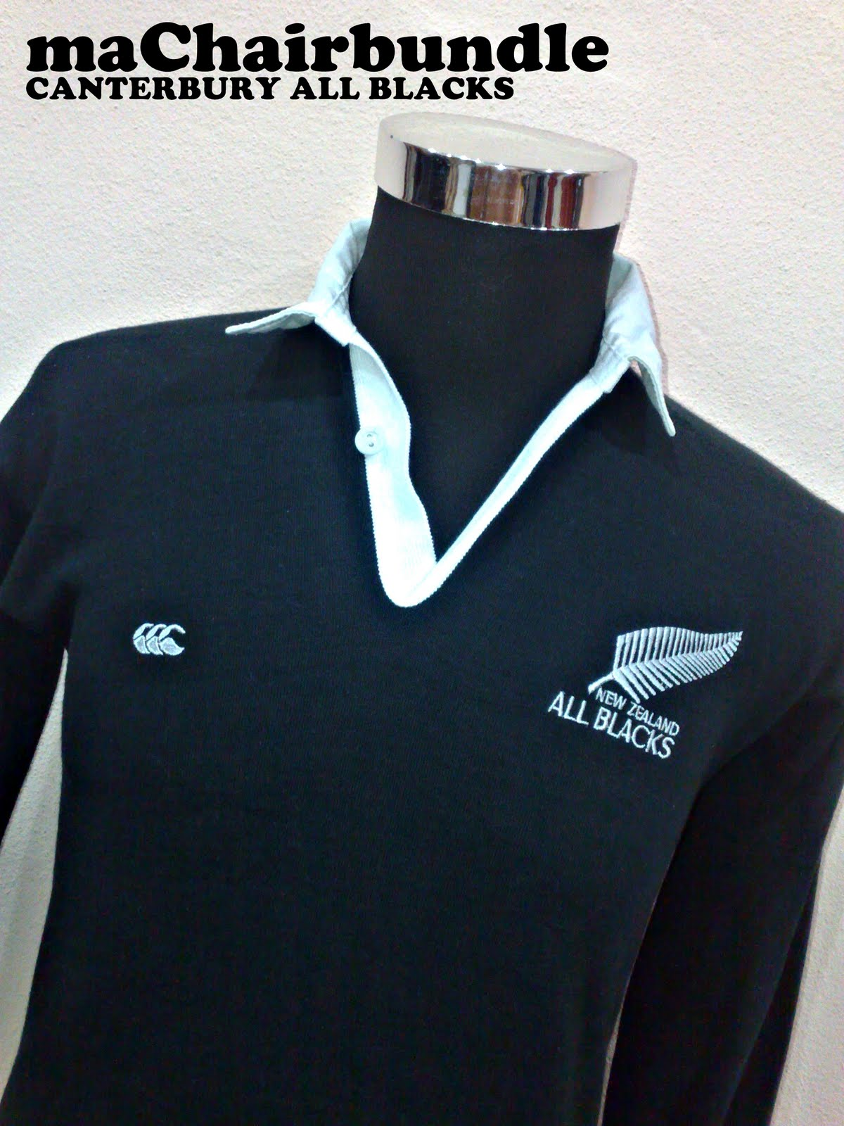 machairbundle canterbury all black long sleeve polo shirt rm60 sold. Black Bedroom Furniture Sets. Home Design Ideas