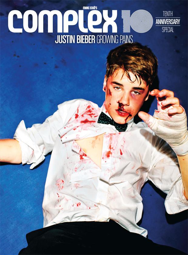 Como podemos ver Justin Bieber aparece golpeado y ensangrentado