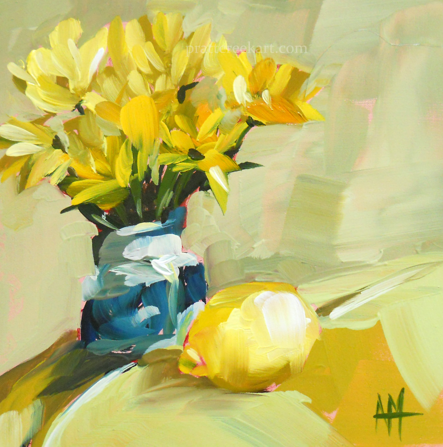 Yellow flowers in blue vase and lemon still life painting angela yellow flowers in blue vase and lemon still life painting mightylinksfo