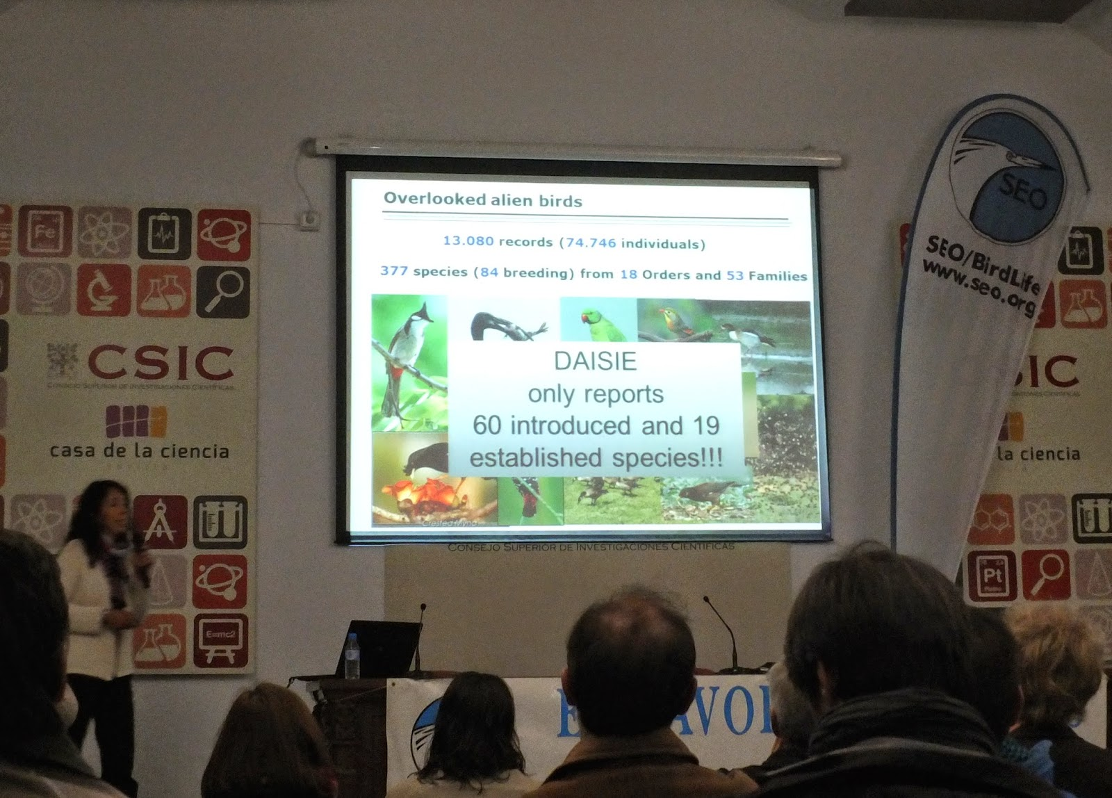 "Conferencia ""Looking for overlooked invasive bird species and their impacts"", por la Dra. Martina Carrete, en el ciclo Martes Ornitológicos que el Grupo Local SEO-Sevilla de SEO/BirdLife organiza en el Museo Casa de la Ciencia de Sevilla"