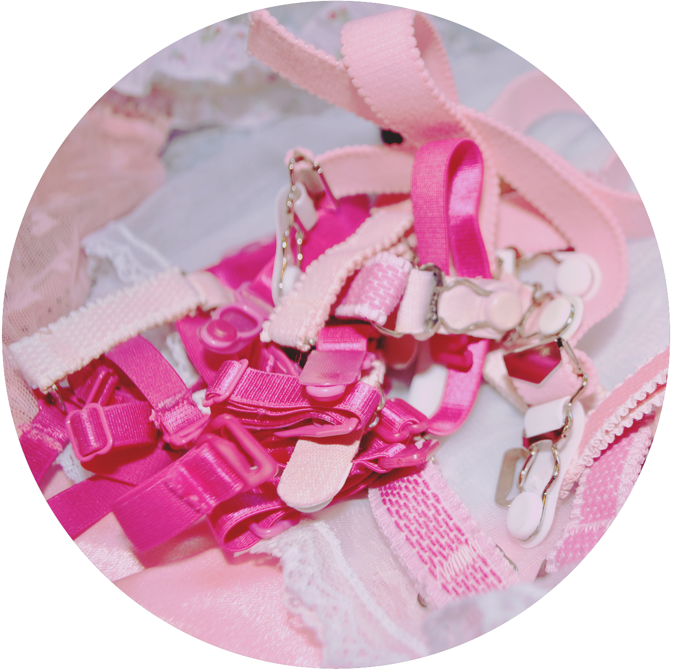 Hot Pink Satin Garters and Vintage Pink Garters