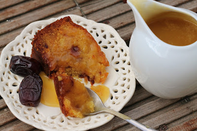 Sticky date and orange cake with toffee sauce and Ajwa dates