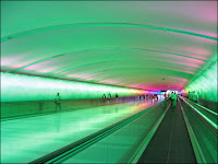 green tunnel airport interior