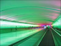 green tunnel airport interior