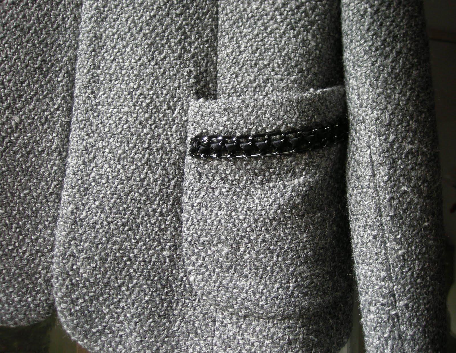vetement occasion vide dressing Flora : SANDRO – Veste costume grise « Chanel » 35% laine - T40 - NEUVE