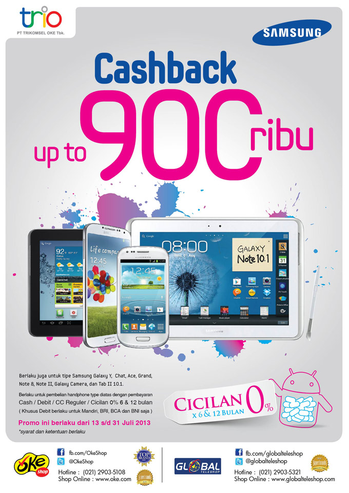 Promo Samsung Galaxy Cashback up to 900 ribu di OkeShop dan Global