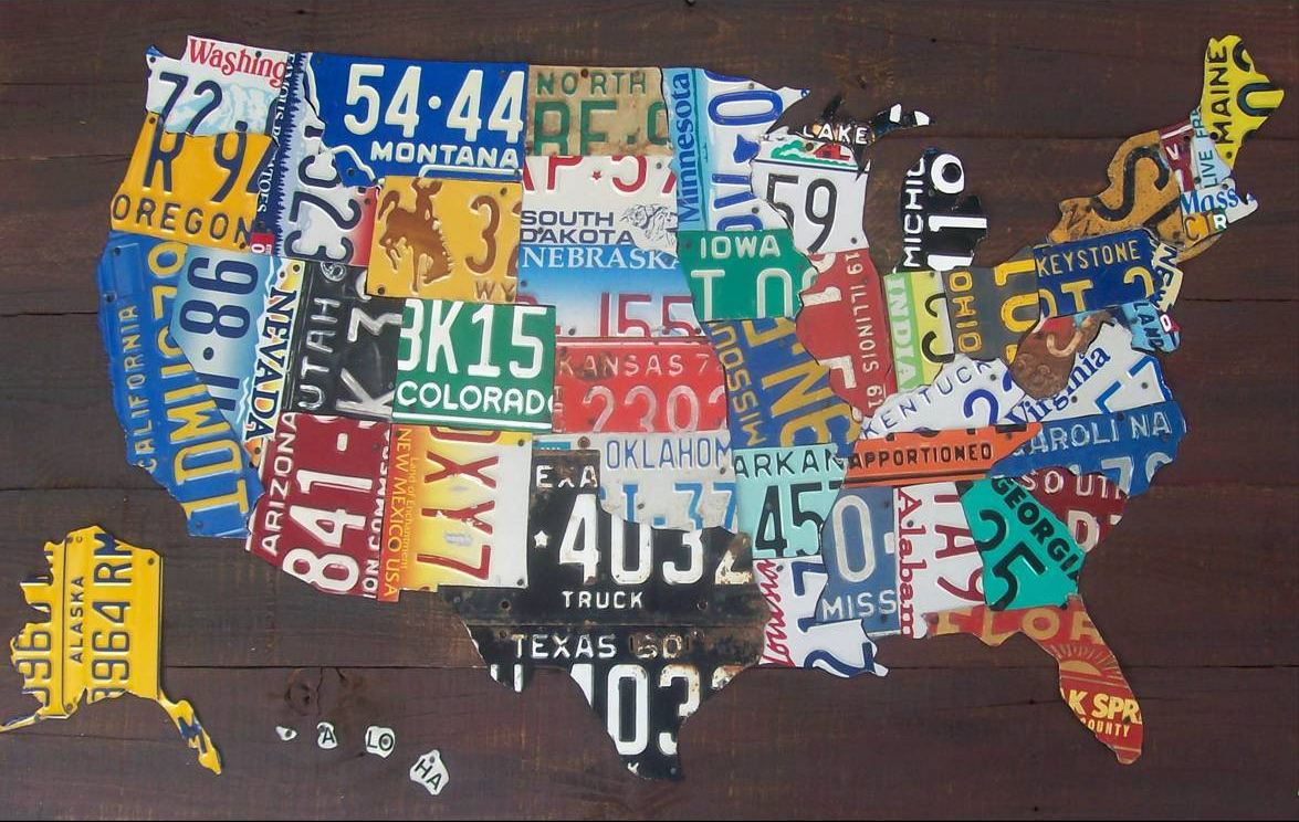 of a map made of recycled license plates and plastic bottle caps i think using recycled state license plates and bottle caps is very good idea and also