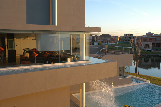 Water falling from the pool on the first floor