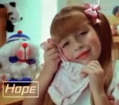 Propaganda das Calcinhas Hope para crianças em 1990.