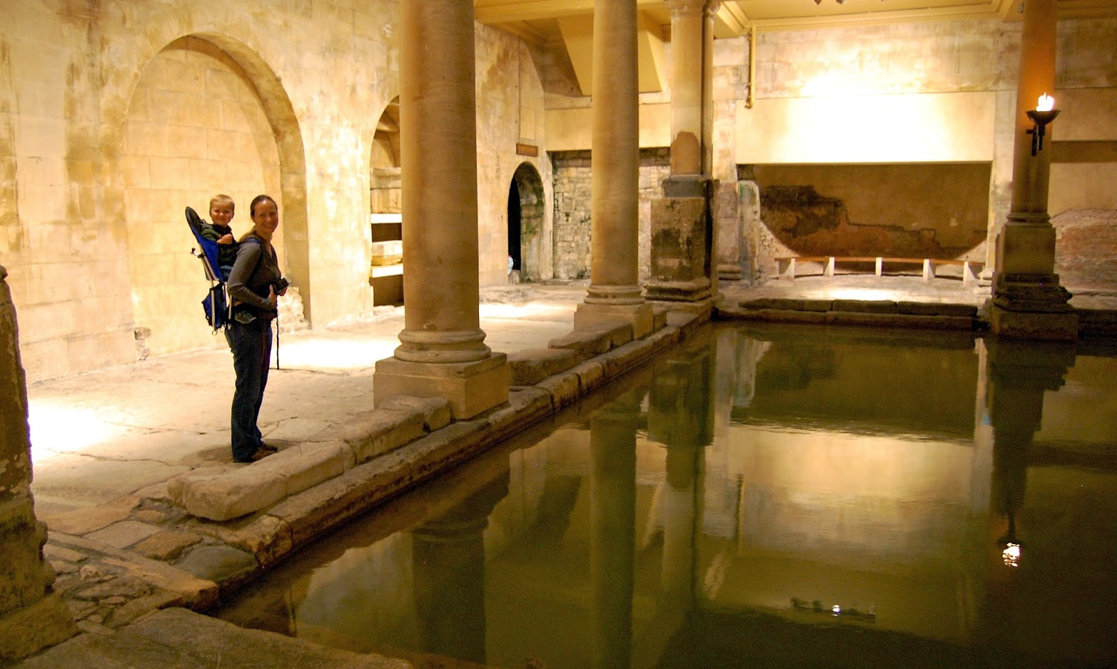 Wandering amidst the Roman baths in Bath, England