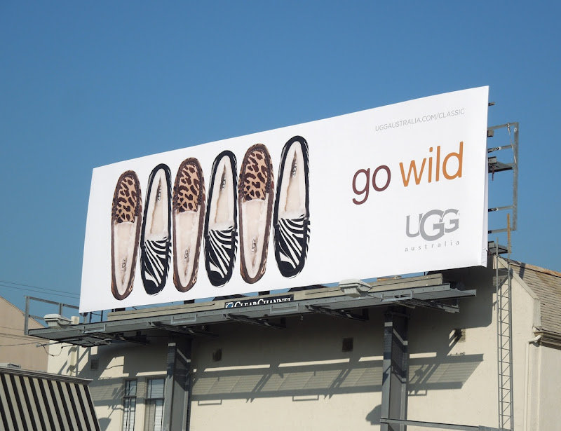 Go Wild UGG Australia animal print slippers billboard