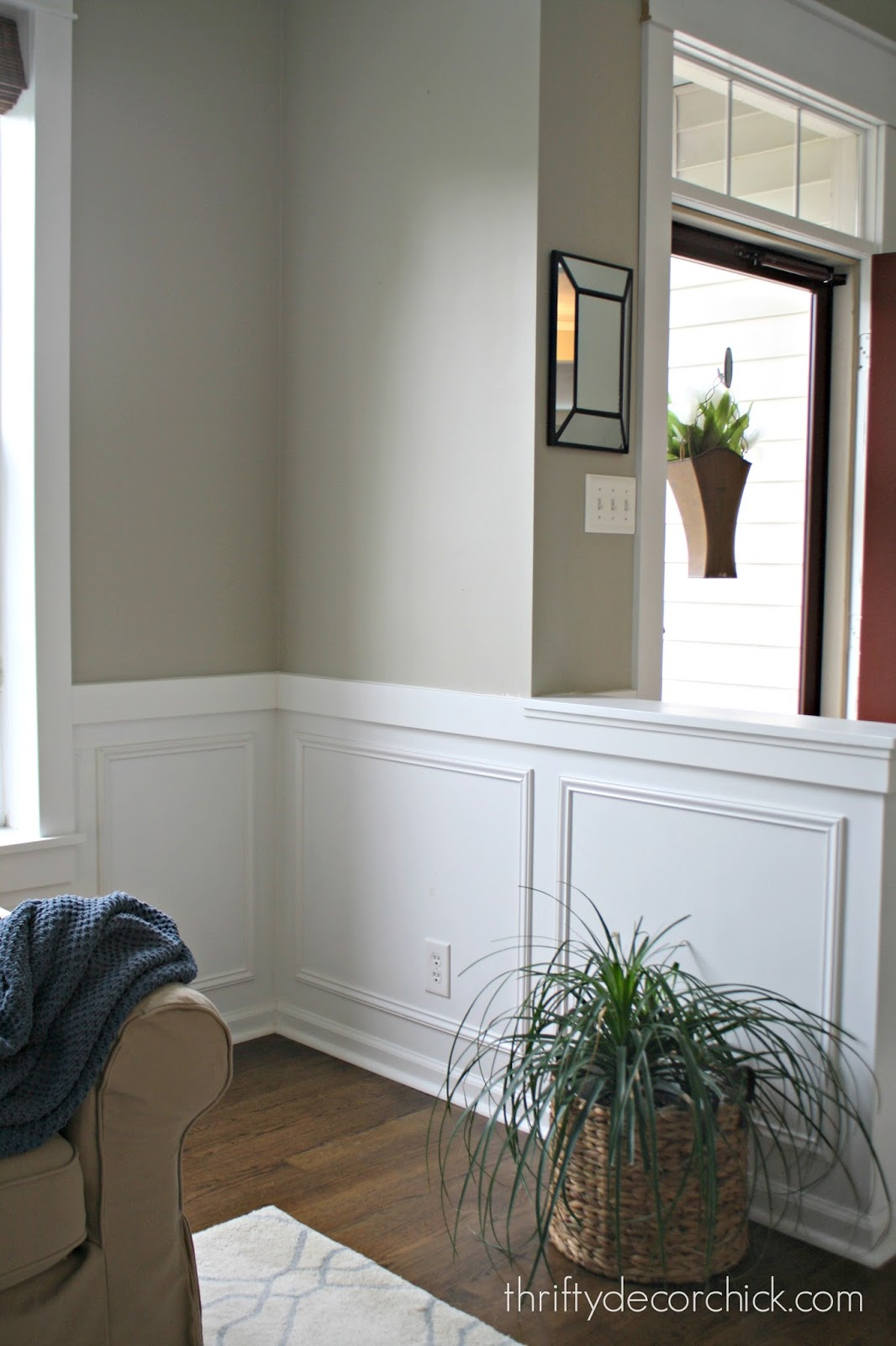 Half wall bookcase from thrifty decor chick square molding on walls amipublicfo Image collections