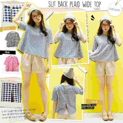 Baju Big Size Slit Back Plaid Wide Top - 10426