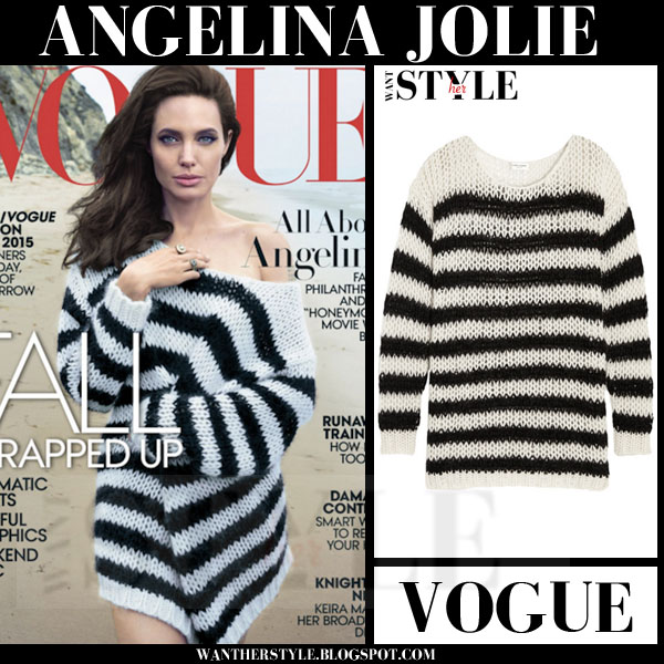 Angelina Jolie in striped black and white knit sweater Vogue november 2015 cover what she wore