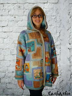 Куртка с капюшоном в стиле вязаный пэчворк